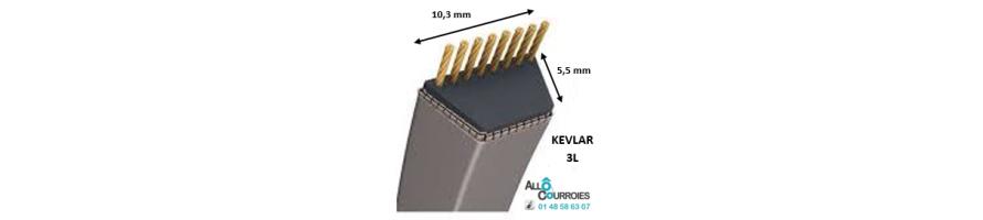 Courroie trapézoïdale Kevlar 3L 10.3x5.5mm | Allocourroies.com