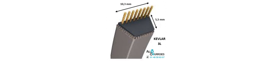 Courroie trapézoïdale Kevlar 3L 9.5x6mm