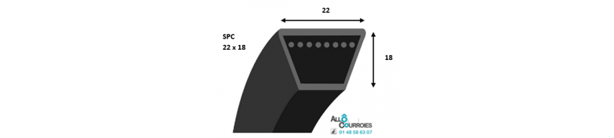 Courroie trapezoidale lisse PROFIL SPC (22 x 8 mm) | Allocourroies.com
