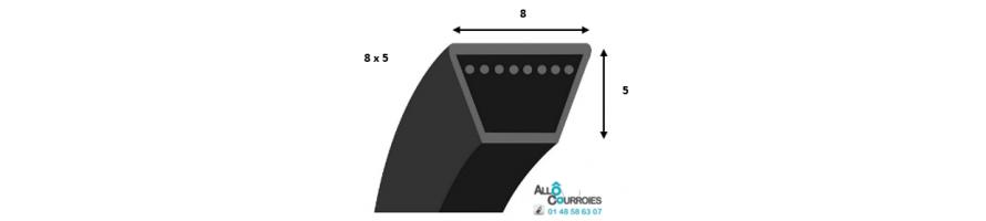 Courroie trapezoidale lisse PROFIL 8 (8x5 mm) | Allocourroies.com