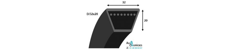 Vente courroie trapezoidale lisse PROFIL D 32x20mm | Allocourroies.com