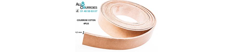 Courroies plates Coton 4 Plis épaisseur 4,5mm| Allocourroies.com
